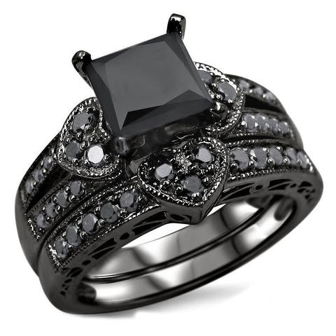 14k Black Rhodium-plated Gold 2 1/4ct TDW Certified Black Diamond Heart Bridal Ring Set