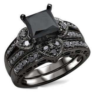 Noori 14k Black Rhodium-plated Gold 2 1/4ct TDW Black Diamond Heart Bridal Ring Set