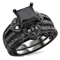Noori 14k Black Rhodium-plated Gold 2 1/4ct TDW Certified Black Diamond Heart Bridal Ring Set