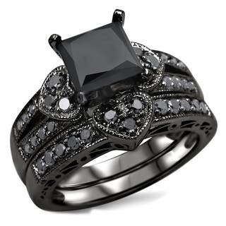 noori 14k black rhodium plated gold 2 14ct tdw certified black diamond heart - Black Wedding Rings Sets