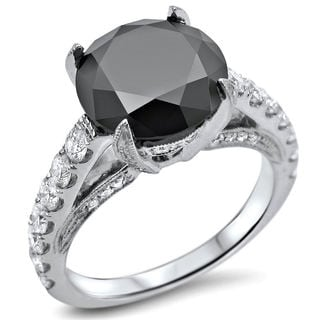 Noori 14k White Gold 4ct TDW Certified Round-cut Black Diamond Engagement Ring