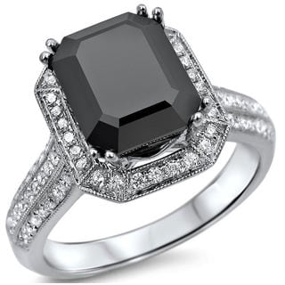 Noori 14k White Gold 3ct TDW Certified Emerald-cut Black Diamond Engagement Ring