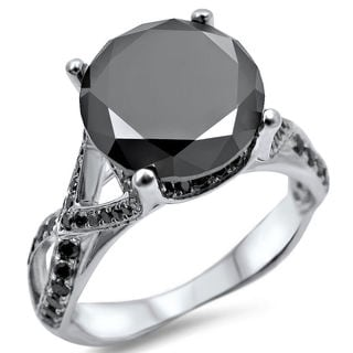 Noori 14k White Gold 3 3/4ct TDW Certified Round-cut Black Diamond Engagement Ring