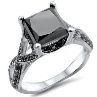 Noori 14k White Gold 2 3/5ct TDW Certified Black Princess-cut Diamond Engagement Ring