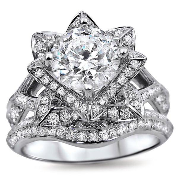 Noori 14k White Gold 2ct TDW Certified Round-cut Diamond Lotus Flower Bridal Ring Set