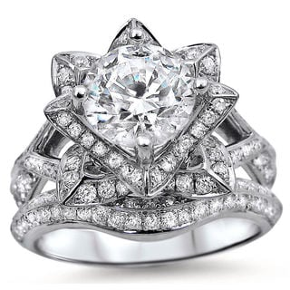 Noori 14k White Gold 2ct TDW Certified Round-cut Diamond Lotus Flower Bridal Ring Set (G-H, SI1-SI2)