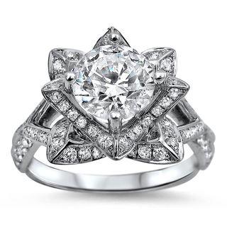 Noori 14k White Gold 1 1/2ct TDW Certified Round-cut Diamond Lotus Flower Engagement Ring (G-H, SI1-SI2)