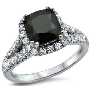 Noori 18k White Gold 2 1/6ct Black Cushion-cut Diamond Engagement Ring (G-H, VS1-VS2)