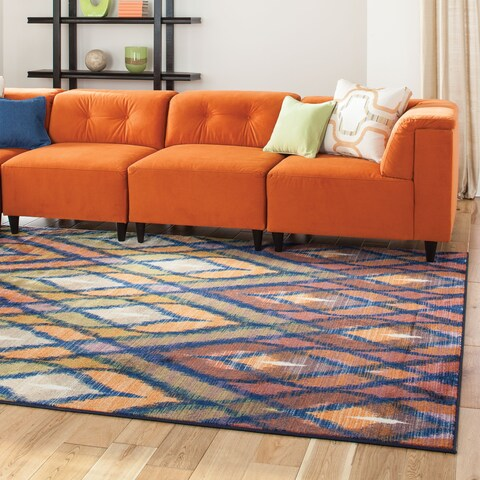 "Pantone Universe Prismatic Orange/ Blue Rug (6'7 x 9'6) - 6'7"" x 9'6"""