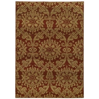 Floral Rust and Taupe Rug (1'10 x 3'3)
