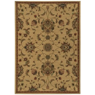 Floral Beige and Green Rug (1'10 x 3'3)