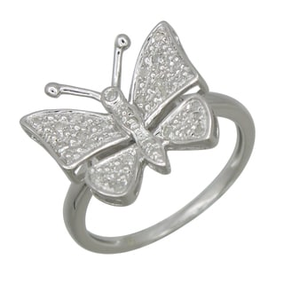 Sterling Silver 1/10ct TDW Diamond Butterfly Ring