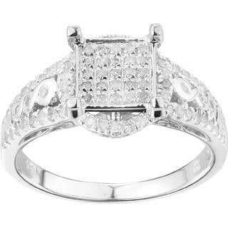 Sterling Silver 5/8ct TDW Round-cut White Diamond Engagement Ring