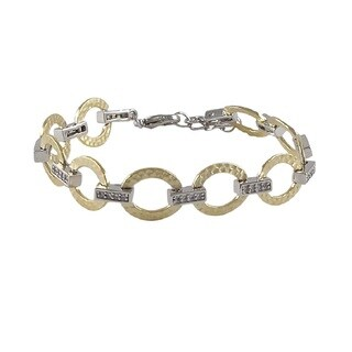 Luxiro Matte Two-tone Gold Finish Cubic Zirconia Hammered Open Circles Link Bracelet
