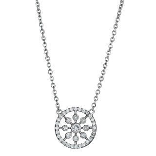 Decadence Sterling Silver Cubic Zirconia Snowflake Necklace