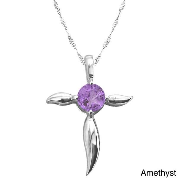 Sterling Silver Birthstone Cross Pendant Necklace