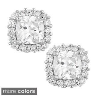 La Preciosa Sterling Silver Square Cubic Zirconia Stud Earrings