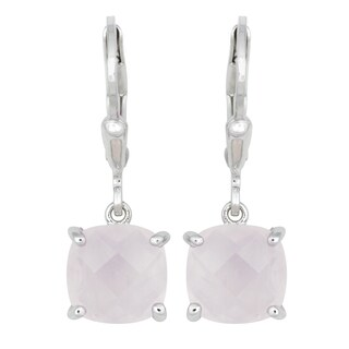 La Preciosa Sterling Silver Faceted Rose Quartz Cushion-cut Earrings