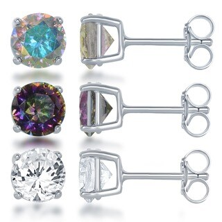 La Preciosa Sterling Silver White, Aurora, Mystic Cubic Zirconia Stud Earrings (Set of 3)