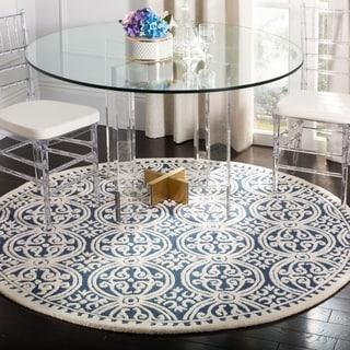 Safavieh Handmade Cambridge Moroccan Navy Blue/ Ivory Rug (9' Round)