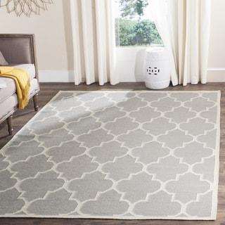 Safavieh Handmade Flatweave Dhurries Grey/ Ivory Wool Rug (8' Square)