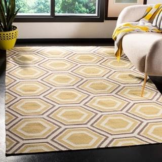 Safavieh Handmade Flatweave Dhurries Ivory/ Yellow Wool Rug (8' Square)
