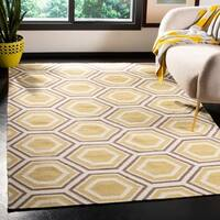 Safavieh Handmade Flatweave Dhurries Ivory/ Yellow Wool Rug - 8' Square