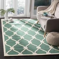 Safavieh Handmade Cambridge Teal/ Ivory Wool Rug - 8' Square
