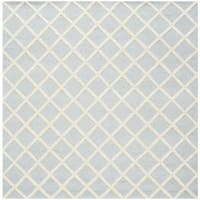 Safavieh Handmade Cambridge Light Blue/ Ivory Wool Rug - 8' Square