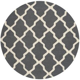 Safavieh Handmade Cambridge Dark Grey/ Ivory Wool Rug (8' Round)