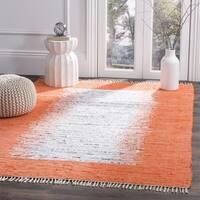 Safavieh Hand-woven Montauk Ivory/ Orange Cotton Rug - 6' x 9'