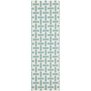 Safavieh Handmade Flatweave Dhurries Turquoise/ Ivory Wool Rug (2'6 x 10')