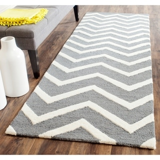 Safavieh Handmade Cambridge Dark Grey/ Ivory Wool Rug (2'6 x 10')