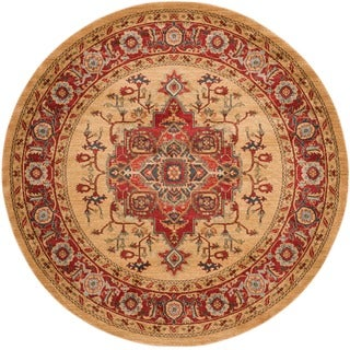 Safavieh Mahal Traditional Grandeur Red/ Natural Rug (9 x 9 Round - Red/Natural)