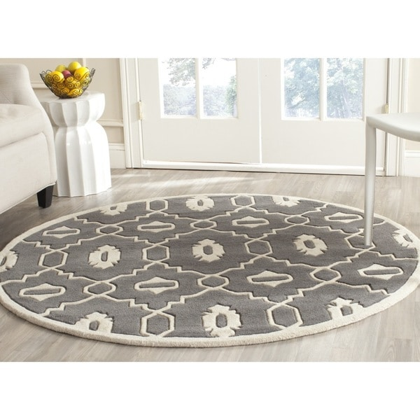 Shop Safavieh Handmade Chatham Dark Grey Ivory Wool Rug