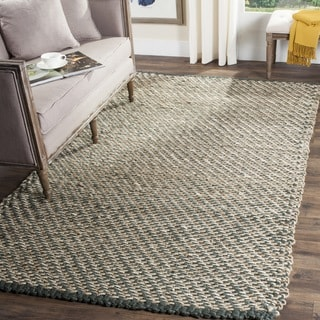 Safavieh Casual Natural Fiber Hand-Woven Blue / Natural Jute Rug (6' Square)