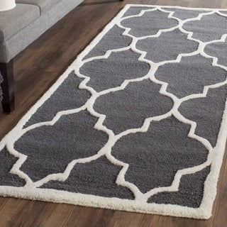 Safavieh Handmade Cambridge Dark Grey/ Ivory Wool Rug (2'6 x 22')