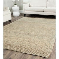 Safavieh Casual Natural Fiber Hand-Woven Natural/ Green Jute Rug - 6' Square