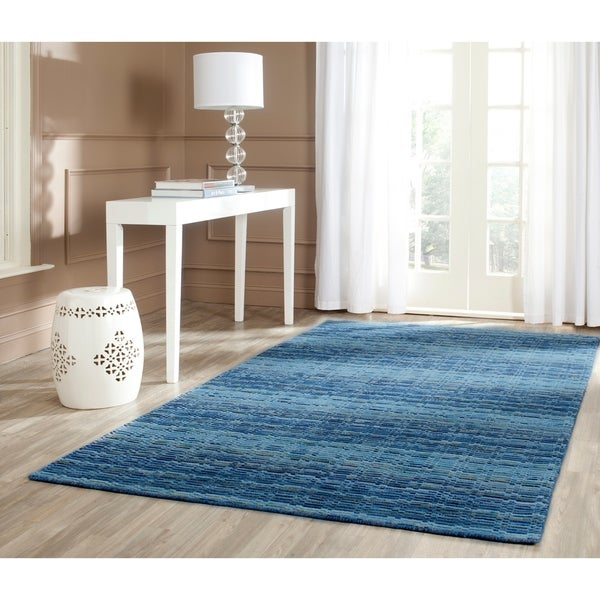 Safavieh Handmade Himalaya Blue/ Multicolored Wool Stripe Area Rug - 9' x 12'