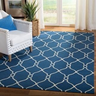 Safavieh Handmade Flatweave Dhurries Dark Blue Wool Rug (9' x 12')