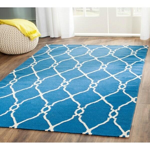 Safavieh Handmade Flatweave Dhurries Dark Blue Wool Rug - 9' x 12'