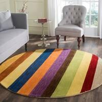 Safavieh Handmade Himalaya Yellow/ Multicolored Stripe Wool Gabbeh Rug - 6' Round