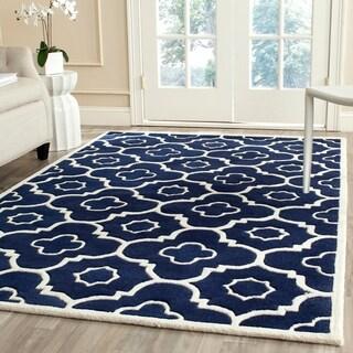 Safavieh Handmade Chatham Dark Blue/ Ivory Wool Rug (8'9 x 12')