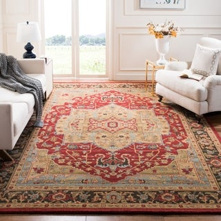 Safavieh Mahal Traditional Grandeur Natural/ Navy Rug (6'7 x 9'2)