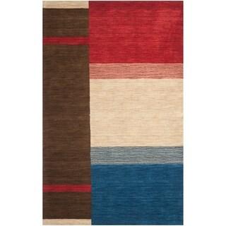 Safavieh Handmade Himalaya Brown/ Multicolored Wool Gabbeh Rug (6' x 9')