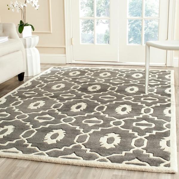 Safavieh Handmade Chatham Dark Grey/ Ivory Wool Rug - 8'9 x 12'