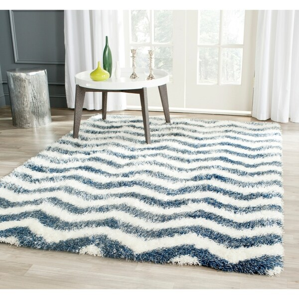 "Safavieh Montreal Shag Ivory/ Blue Stripe Polyester Rug - 6'7"" x 9'6"""