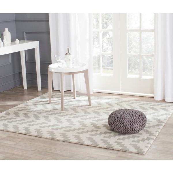 Safavieh Handmade Cambridge Modern Grey/ Ivory Wool Rug - 8' x 10'