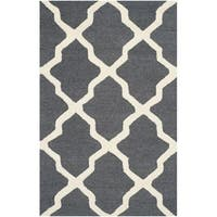 Safavieh Handmade Cambridge Dark Grey/ Ivory Wool Rug - 3' x 5'
