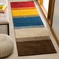 "Safavieh Handmade Himalaya Orange/ Multicolored Stripe Wool Gabbeh Runner Rug - 2'3"" x 10'"